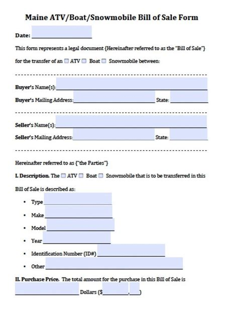 Free Maine Atv Boat Snowmobile Bill Of Sale Form Pdf Word Doc Maine Will Template