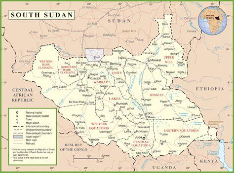south sudan map south sudan political map