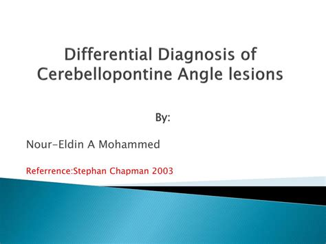 differential diagnosis of common complaints e book books ppt differential diagnosis of cerebellopontine angle