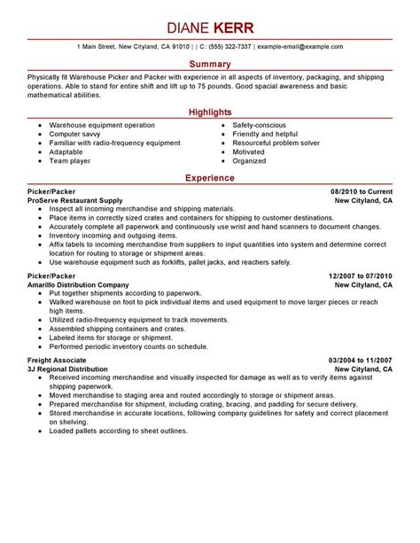 Warehouse Packer Resume by Picker And Packer Resume Exles Production Resume Sles Livecareer