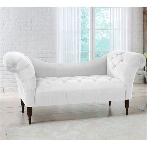 white tufted chaise lounge skyline furniture tufted chaise lounge in white