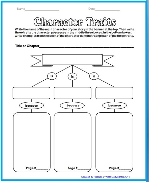Character Traits Worksheet by Overdoing It Eleven Comparative Literature Part Ii