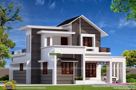 double floor modern style home design 2015 modern mix small double storied house kerala home design