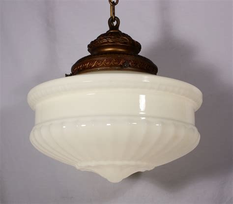 Antique Light Fixtures Large Antique Pendant Light Fixture With Original Milk Glass Shade C 1910 Nc547 For Sale