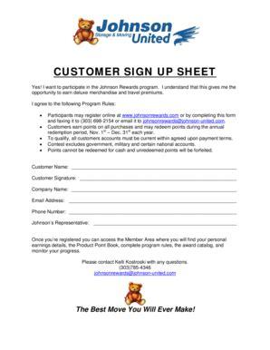 Volunteer Sign Up Sheet Forms And Templates Fillable Printable Sles For Pdf Word Pdffiller Customer Rewards Program Template
