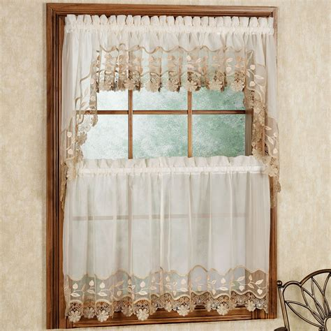 Swag Curtains For Kitchen Windows Seville Tier And Swag Window Treatment