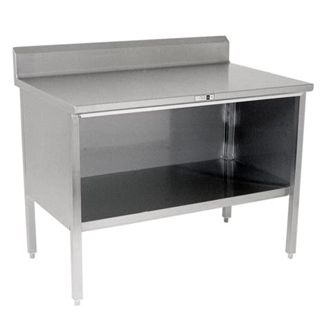 enclosed stainless steel work table stainless steel enclosed work table 6 quot rear riser open