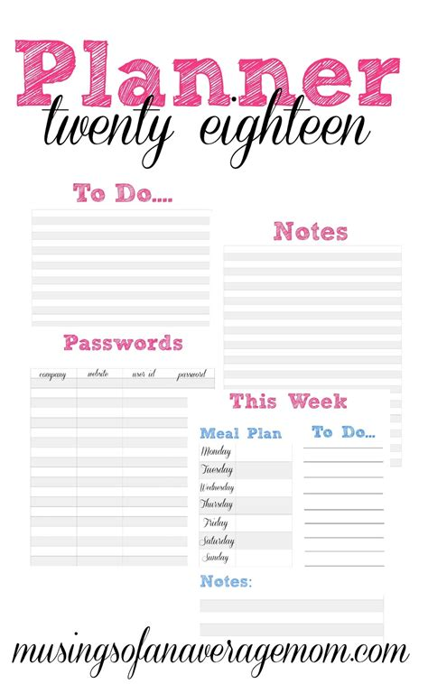 printable life planner 2018 musings of an average mom 2018 planners