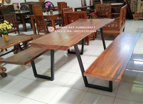 Meja Makan Besi Tempa terbaru meja makan trembesi kaki besi bangku extension