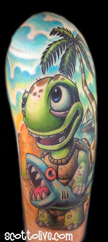 new school turtle tattoo swimming lessons by scott olive tattoonow