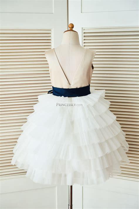Dress Navy Flower With Belt v back chagne satin ivory tulle flower dress with navy blue belt avivaly