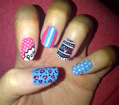 easy nail art pink and blue 32 pink white and blue nail designs nails pix