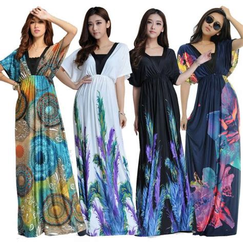 Big Size V Neck Dress M 6xl plus size m 6xl floral v neck bat sleeve bohemian