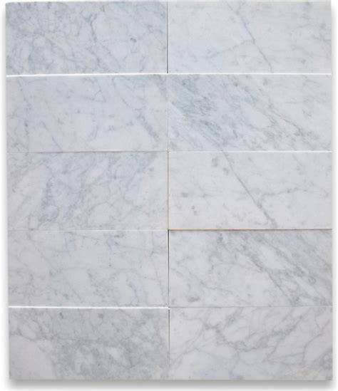 carrara white 6 x 12 subway tile polished marble from