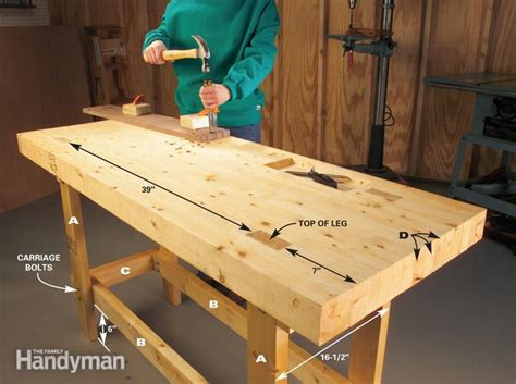 make a woodworking bench build a work bench on a budget the family handyman