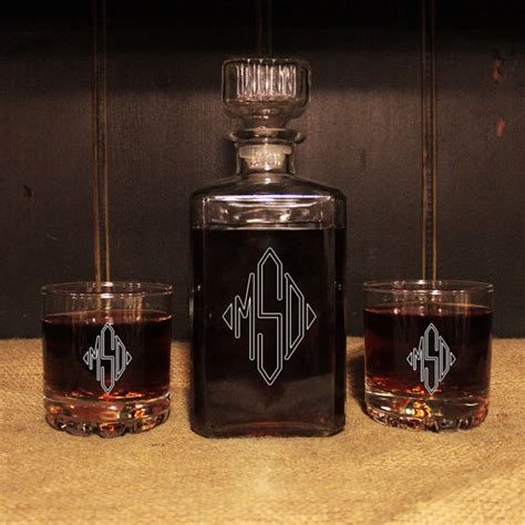 whiskey barware monogrammed glass whiskey decanter set barware personalized
