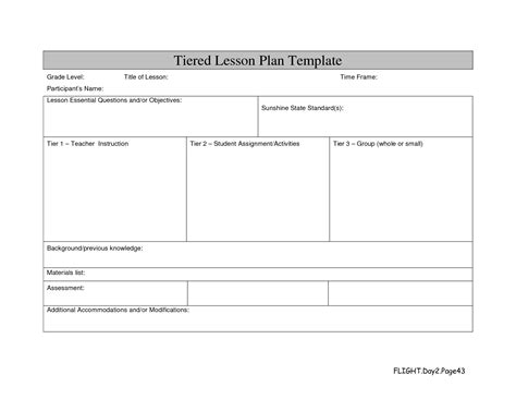 standard lesson plan template best photos of standard lesson plan format template