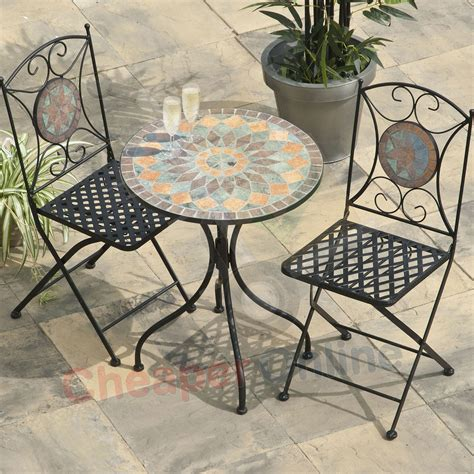 Mosaic Patio Table And Chairs 2 Person 60cm Cairo Mosaic Bistro Garden Furniture Set Table And 2 Chairs Cheaper Co Uk