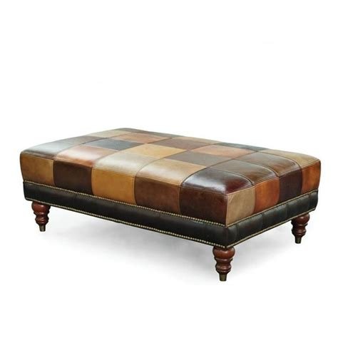 Patchwork Leather Ottoman - pin by heidi buesing o mara on for the home