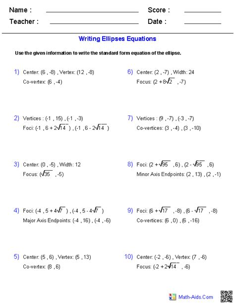 properties of conic sections ellipses worksheet worksheets releaseboard free