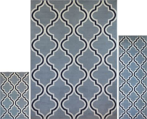 Geometric Area Rug 3 Pc Set Modern Contemporary Geometric Area Rug Runner