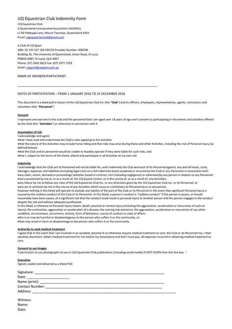 uq equestrian club indemnity form 2016 docx docdroid