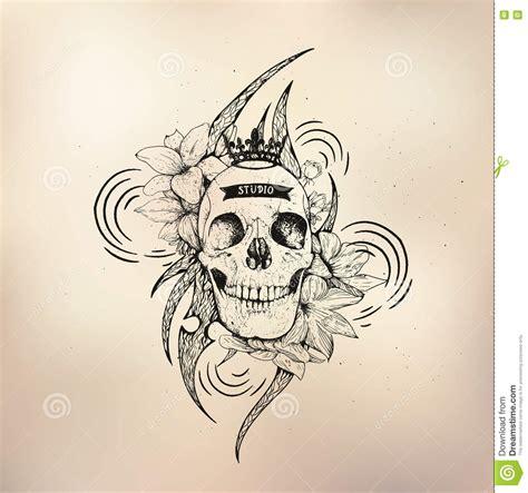 tattoo old school logo tattoo old school studio skull stock vector image 72346861