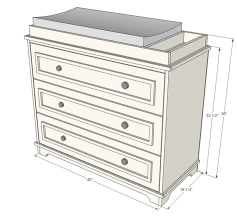 Changing Table Dimensions Ana White Fillman Dresser Or Changing Table Diy Projects