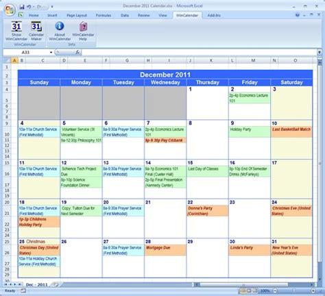 calendar template software excel calendar template
