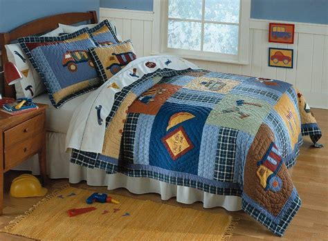 boy construction truck twin quilt bedding kid bed set ebay