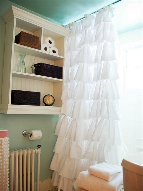 how to make a curtain into a shower curtain create an easy custom ruffled shower curtain hgtv