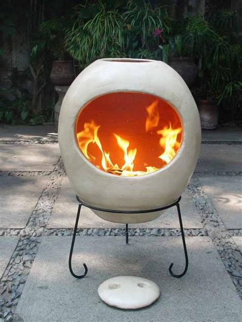modern extra large ellipse mexican chimenea clay chiminea
