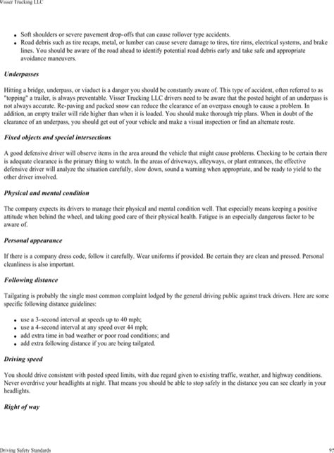 Download Visser Trucking Company Safety Policy Template For Free Page 99 Formtemplate Trucking Safety Program Template