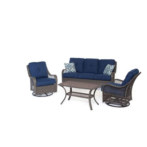 Blue Patio Chairs Hanover Orleans Grey 4 All Weather Wicker Patio Seating Set With Navy Blue Cushions