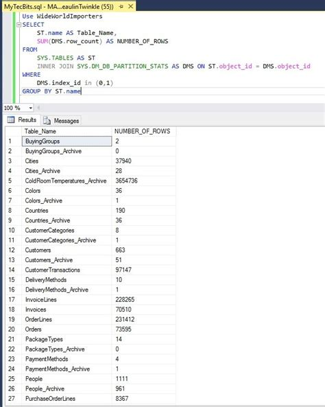 sql all tables get row count of all tables in sql server database my