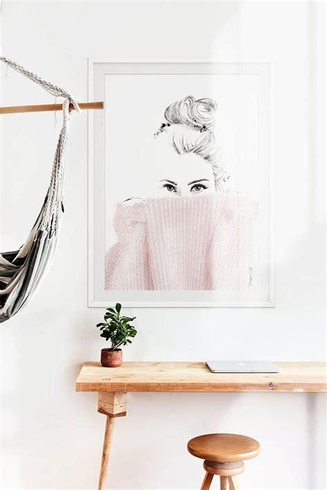wall art minimal poster art print blush pink drawing