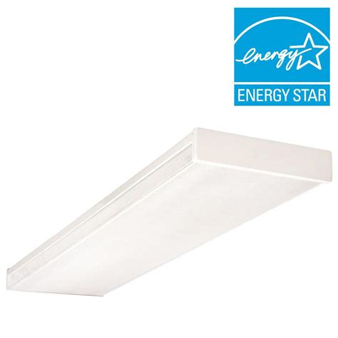 Fluorescent Light Fixture Lens 4 Light White Fluorescent Wraparound Steel Ceiling Fixture With Clear Prismatic Acrylic Lens