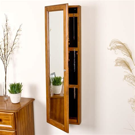 oak jewelry armoire mirror amazon com sei wall mount jewelry armoire with mirror