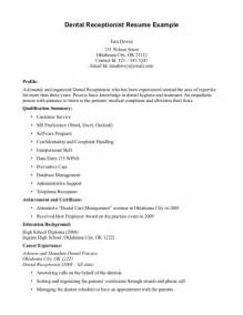 Receptionist Objective On Resume by Front Desk Receptionist Resume Sle Resume Template Exle
