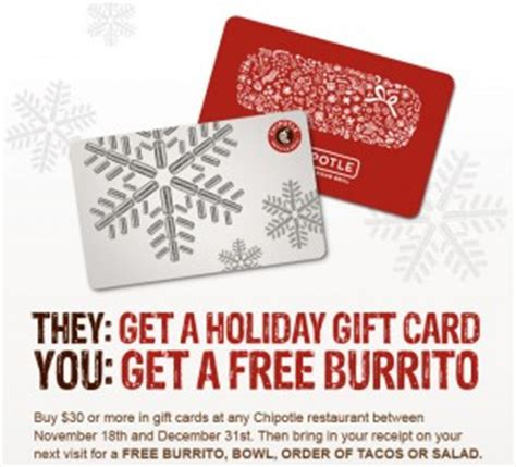 Chipotle Buy 25 Gift Card - free chipotle burrito w 30 gift card purchase frugal bon vivant blog
