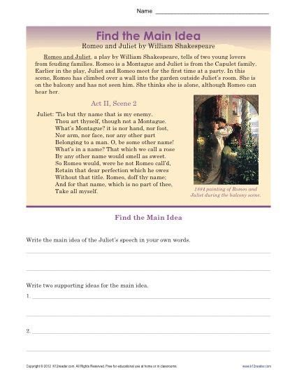romeo and juliet themes worksheet answers 70 best printable main idea activities images on pinterest