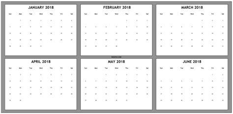 six month calendar template june 2018 calendar calendar template excel