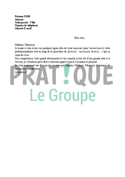 Exemple De Lettre De Remerciement à Un Notaire Lettre De Remerciement 224 Un Notaire Pratique Fr