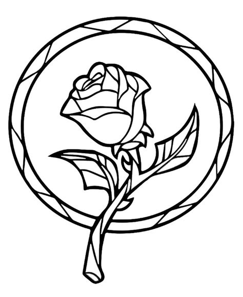 suncatcher coloring page beauty and the beast enchanted rose suncatcher