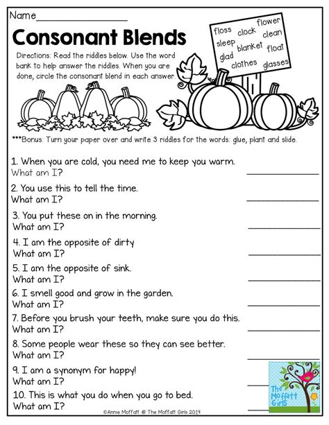 printable worksheets on consonant blends for grade 3 consonant blends mystery words read the clues and write
