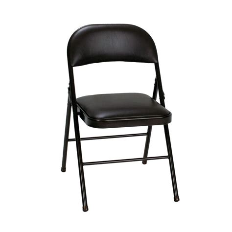 costco black vinyl padded folding chairs cosco black vinyl seat and back folding chairs 4 pack