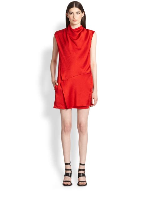 asymmetrical draped dress helmut lang stretch silk draped asymmetrical dress in red
