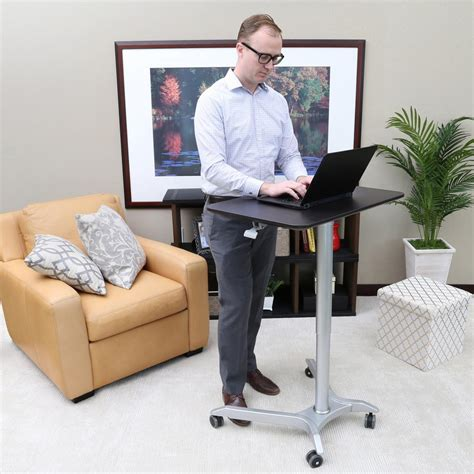 seville classics mobile laptop desk cart seville classics airlift sit stand mobile