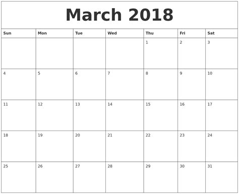 printable quarterly calendar 2018 march 2018 monthly printable calendar