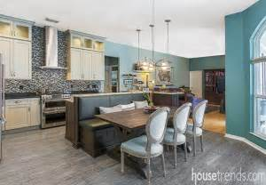 kitchen island and attached banquette center stage
